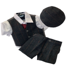 Boys Brown Check Tweed Shorts 4 Piece Suit With Flat Cap